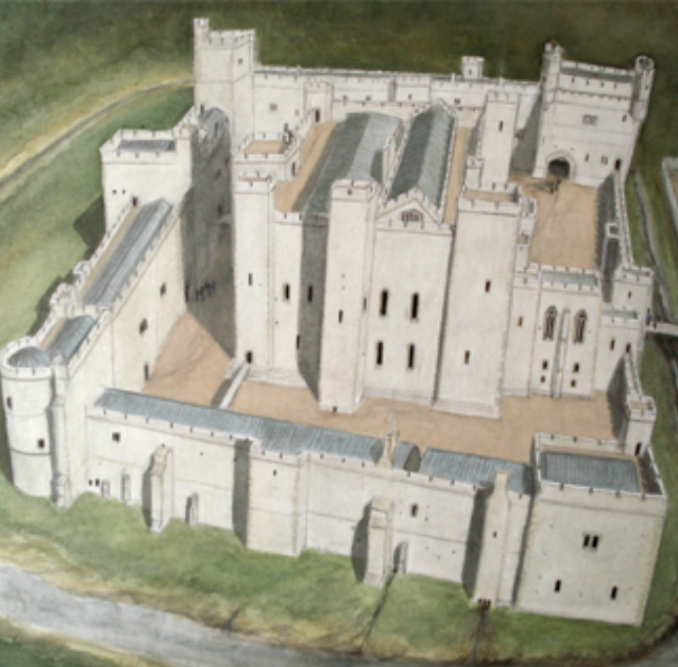 a medieval castle re-imagined in a painting