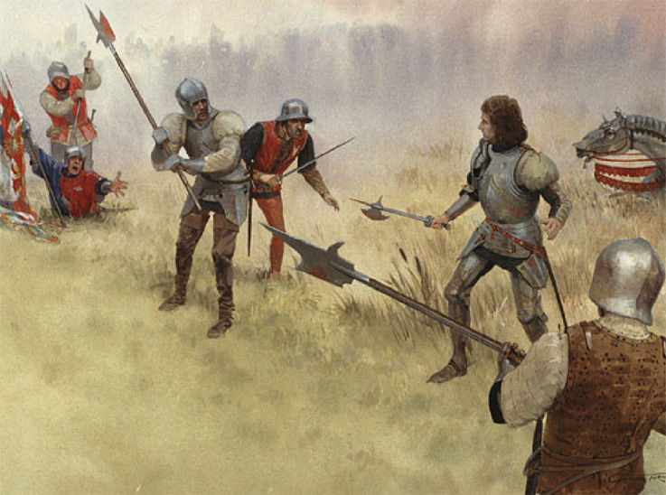 a painting of Richard III at Bosworth fighting on foot with no helmet