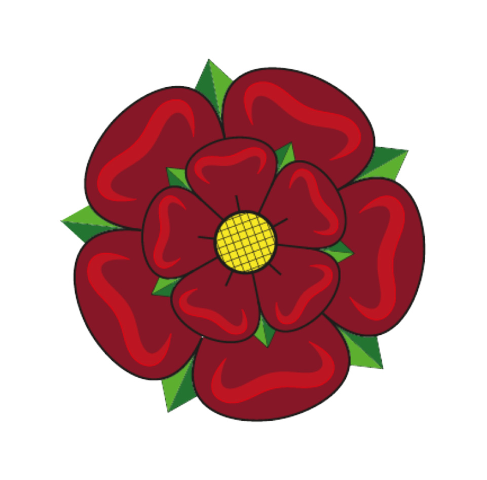 drawing of a red rose of Lancaster