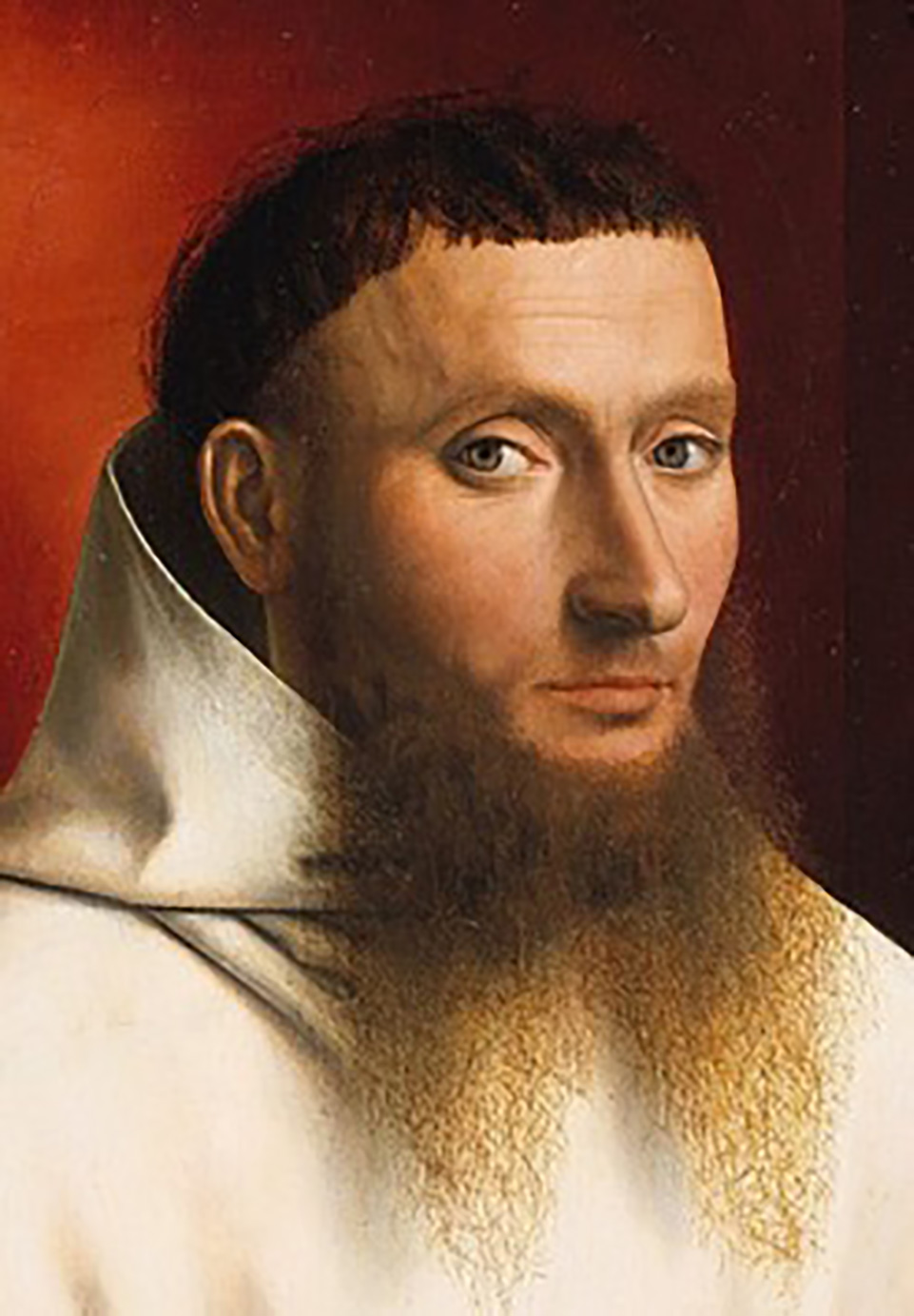 Painting of a Carthusian lay brother, close-up of face