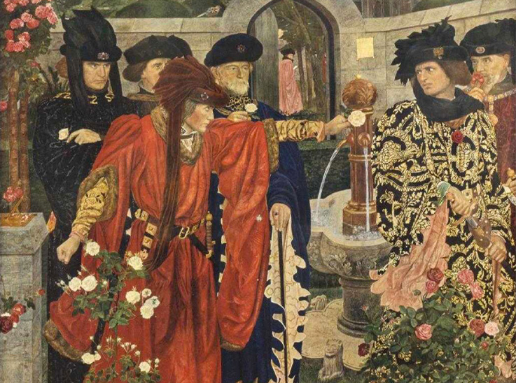 Plucking the Red and White Roses by Henry Payne. Birmingham City Art Gallery