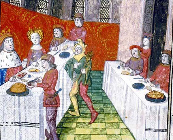 Image of a 15th century meal from Roman de Lancelot en prose, France,