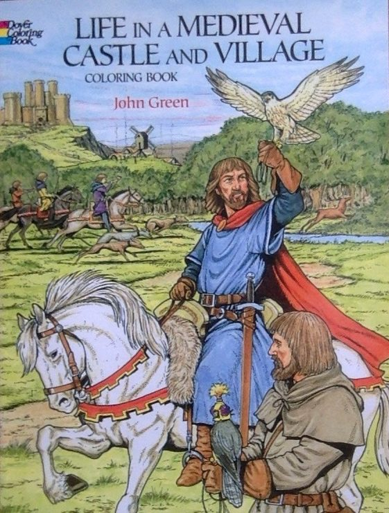 Front cover of colouring book on Life in a Medieval Castle and Village
