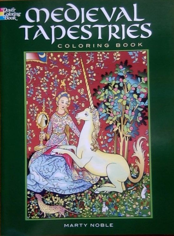 Front cover of a colouring book on Medieval Tapestries