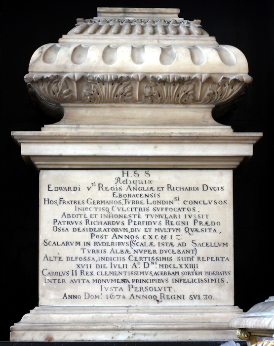 Urn containing the supposed bones of the Princes in the Tower, Westminster Abbey